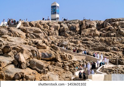 MECCA, SAUDI ARABIA - JUNE 29: Muslims at Mount Arafat (or Jabal Rahmah) June 29, 2019 in Arafat, Saudi Arabia. This is the place where Adam and Eve met after being overthrown from heaven.