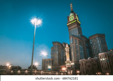 MECCA, SAUDI ARABIA - JUNE 7, 2017: Skyline with Abraj Al Bait (Royal Clock Tower Makkah) in Makkah, Saudi Arabia. The tower is the tallest clock tower in the world at 601m (1972 feet).