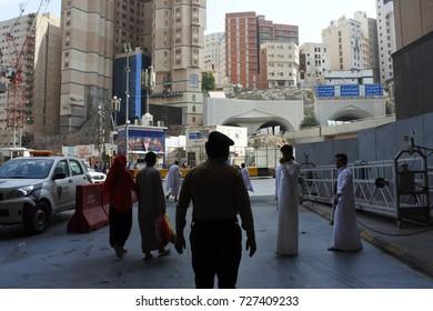 Mecca Saudi Arabia - March 01 2017: a Saudi Arabian policeman watching the order on the highway