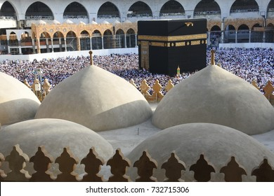 MECCA SAUDI ARABIA March 2017 - muslim pilgrims from all over the world gathered to perform Umrah or Hajj at the Haram Mosque in Mecca Saudi Arabia days of Hajj