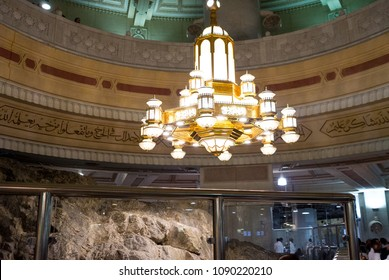 MECCA, SAUDI ARABIA - MAY 02 2018: Safa and Marwa are two hills inside Masjid Al Haram between those Saee running ritual performed during Hajj and Umra. Historic hills are now covered with glass