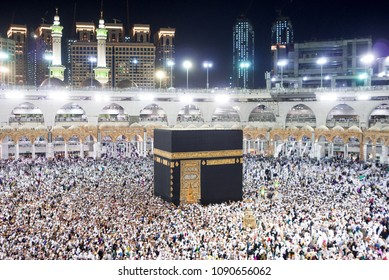 MECCA, SAUDI ARABIA - MAY 02 2018: The Holy Kaaba is the center of Islam, Located in Masjid Al Haram in Mecca. Crowd of people always walking around Kaaba making Tawaf during Umra or Hajj