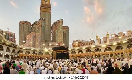 MECCA, SAUDI ARABIA - MAY 02 2018 The Holy Kaaba is the center of Islam, Located in Masjid Al Haram in Mecca. Crowd of people always walking around Kaaba making Tawaf during Umra or Hajj .