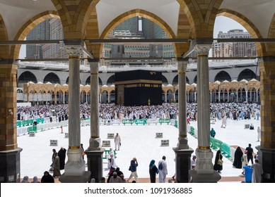 MECCA, SAUDI ARABIA - MAY 05 2018: View on Kaaba from second floor of Masjid Al Haram through some new constructions building around the masjid