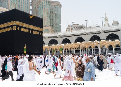 MECCA, SAUDI ARABIA - MAY 05 2018: Tawaf is a ritual during Umra or Hajj when pilgrims making seven circles around The Holy Kaaba in Masjid Al Haram