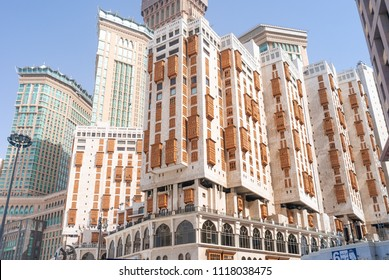 MECCA, SAUDI ARABIA - MAY 05 2018: Millennium Towers Hotel luxury complex, one of the best hotels in the center of Mecca, near the square of Al Masjid Al Haram Mosque. Abraj Clock Tower on back