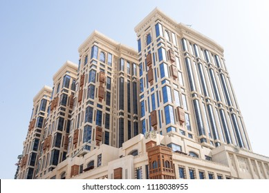 MECCA, SAUDI ARABIA - MAY 05 2018: Jabal Omar Hyatt Regency Hotel towers, luxury complex, one of the best hotels in the center of Mecca, near the square of Al Masjid Al Haram Mosque
