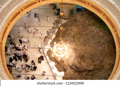 MECCA, SAUDI ARABIA - MAY 07 2018: A part of Marwa and Safa hills inside Masjid Al Haram is saved for people who do Sai traditional running when on Umra or Hajj