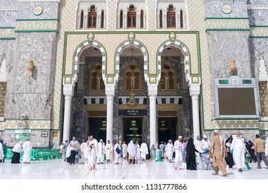 MECCA, SAUDI ARABIA - MAY 07 2018: King Abdul Aziz Gate is the main entrance to Grand Mosque of Mecca or Masjid Al Haram the holiest site for muslims, where Holy Kaaba is located