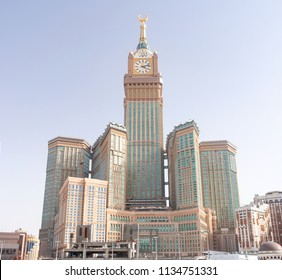MECCA, SAUDI ARABIA - MAY 07 2018: Big panorama of Abraj Al Beit Clock Tower in the center of Mecca. Luxury hotels and shopping mall, observation deck on the top