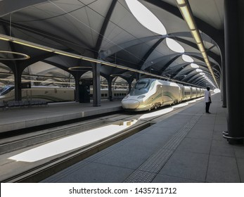 MECCA, SAUDI ARABIA - MAY 27, 2019 :  An unidentified man looks on at HSR High Speed Railway station in Mecca, Saudi Arabia.