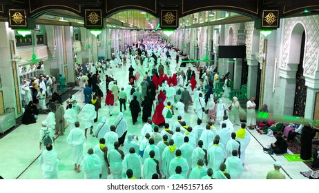 MECCA, SAUDI ARABIA - Nov. 15, 2017: Saee Running is a ritual of Hajj and Umra when pilgrim making 7 circles between Safa and Marwa Hills inside Mosque's Al Haram. Green light area