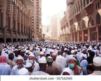 Mecca, Saudi Arabia - November 13, 2009 ; A thousand of Muslim walks on road between Hilton Hotel and Clock Tower going to Masjidil Haram during hajj.