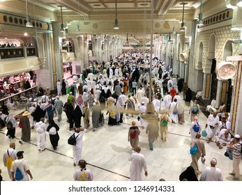 MECCA, SAUDI ARABIA - November 15, 2017: Pilgrims perform Saee or saie  during of Hajj and Umra between Safa and Marwa Hills inside Mosque's Al Haram