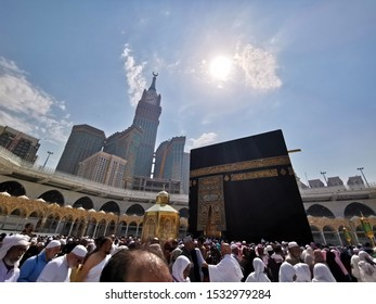 Mecca, Saudi Arabia October-14-2019: The Holy Kaaba in Masjid Al Haram.