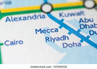 Mecca, Saudi Arabia on a geographical map.
