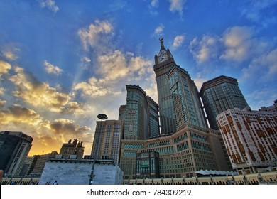 MECCA, SAUDI ARABIA-CIRCA DEC 2017:Skyline with Abraj Al Bait (ZamZam Clock Tower) in Makkah. The tower is the tallest clock tower in the world at 601m (1972 feet), built at a cost of USD1.5 billion.