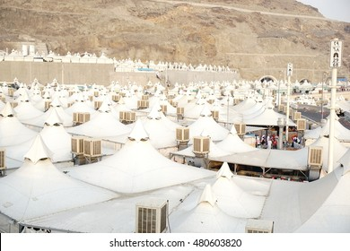 MECCA, SAUDI ARABIA-CIRCA OCT 6, 2014: Canopies for pilgrims at Mina on Oct 6, 2014 in Makkah, Saudi Arabia. All canopies are built to be used during hajj season.