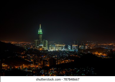 MECCA, SAUDI ARABIA-DEC 15, 2017 :Skyline with Abraj Al Bait (Royal Clock Tower Makkah) in Makkah, Saudi Arabia. The tower is the tallest clock tower in the world at 601m (1972 feet).