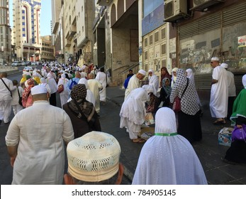 MECCA, SAUDI ARABIA-DECEMBER 23 2017: people walks out from Masjidil Haram after prayer in the late evening