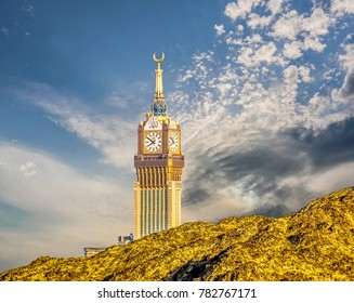 MECCA, SAUDI ARABIA-December 26, 2017: Skyline with Abraj Al Bait (Royal Clock Tower Makkah) in Mecca, Saudi Arabia.