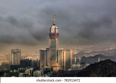 MECCA, SAUDI ARABIA-December 26, 2017: Skyline with Abraj Al Bait (Royal Clock Tower Makkah) in Mecca, Saudi Arabia.