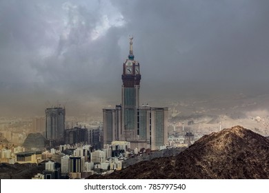 MECCA, SAUDI ARABIA-January 2, 2018: Skyline with Abraj Al Bait (Royal Clock Tower Makkah) in Mecca, Saudi Arabia.