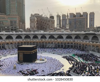 MECCA, SAUDI ARABIA-JANUARY 26,2018: Bird's eye view of unidentified Muslim pilgrims in prostration (sujod) position facing the Kaabah.