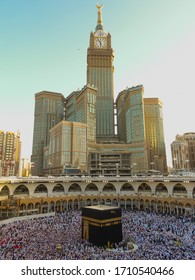 MECCA, SAUDI ARABIA– MARCH 5, 2019: Royal Clock Tower in makkah,mecca with clean blue background. Kaaba is place where muslim visit all around the world.