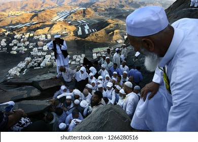 Mecca, Suudi Arabia  / Suudi Arabia - 9.11.2010: Muslims visit the Hira cave  where prophet Muhammed  stay in and pray on the top of Noor Mountain in Mecca.