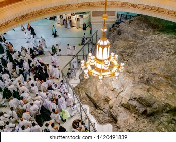 MECCA-April 2019: Muslim pilgrims perform saei (brisk walking) from Safa mount to Marwah mount in Mecca. Muslim pilgrims perform 7 rounds of saei from Safa mount to Marwah mount.