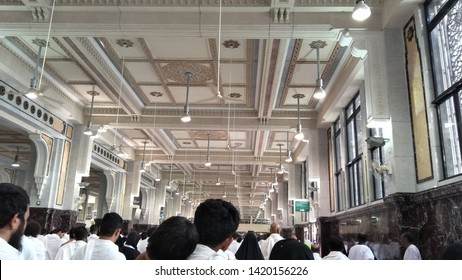 MECCA-May 15 2019: Muslim pilgrims reach Safa mount to Marwah mount in Mecca. Muslim pilgrims perform saie 7 rounds of brisk walking from Safa mount to Marwah mount during umrah.