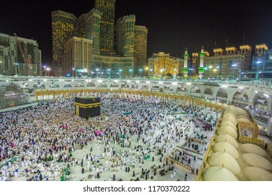 MECCA,Saudi ARABIA-April-27-2018 Muslim pilgrims from allover the world gathered to,makkah nigth background.
