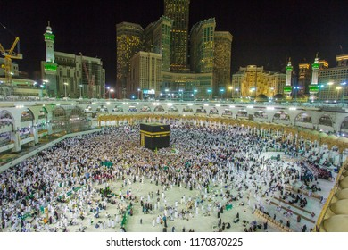 MECCA,Saudi ARABIA-April-27-2018 Muslim pilgrims from allover the world gathered to,mecca nigth background,