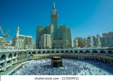 MECCA,Saudi ARABIA-April-27-2018 Muslim pilgrims.from allover the World gathered to,,Makkah blue sky background.