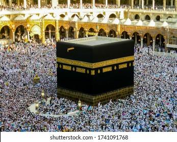 Mecca,Saudi Arabia-Dec 18,2008:Muslim pilgrims circumambulate or tawaf the Kaabah at Masjidil Haram,Mecca,Saudi Arabia. Millions of muslims around the world coming Mecca to perform hajj.