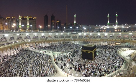 MECCA,SAUDI ARABIA-DECEMBER 22 2017: people revolve around Kaabah located at the center of Masjidil Haram at Mecca city
