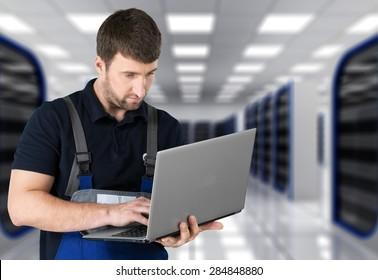 Mechanic, Auto Repair Shop, Computer.