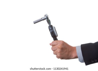 Mechanic engineer holding digital torque wrench in his hand; handing tool on white background with clipping path