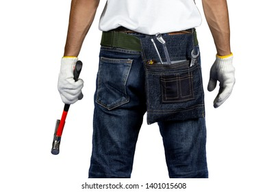 Mechanic or engineer standing on white background and holding hammer on hand.Labor market of joiner and craftsman concept.Free space.
