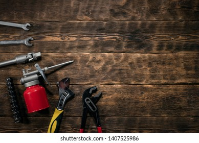 Mechanic engineer workbench flat lay background with copy space.