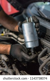 Mechanic holding a fuel filter over the car hood, auto repairing or servicing concept