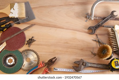 mechanic old  tools set on wooden background with place for text