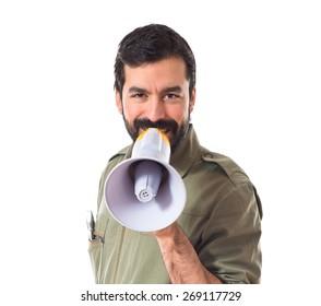 mechanic shouting by megaphone