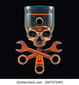 Mechanic skull and crossbones / 3D illustration of engine piston metal skull with crossed spanners lit from below by fiery glow