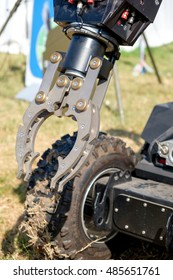 mechanical arm of a  bomb disposal cobot robot unit used by the Army to  defuse bombs - Ferrara, Italy 16 September 2016 -