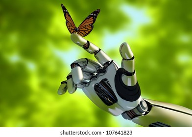 The mechanical arm and a butterfly.