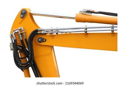 Mechanical arm jack of a backhoe isolated on white background.