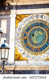 The mechanical, astronomical Clock in the Torre dell'Orologio (Clock Tower) in Piazza della Loggia, Brescia, Lombardy, Italy. It shows moon phases, time and the signs of the zodiac. Italian heritage.