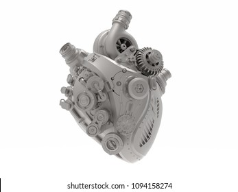 mechanical bionic heart engine 3D illustration